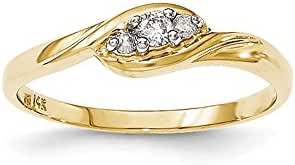 14K Yellow Gold Diamond Ring / Ctw. 0.1