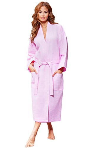 Waffle Ladies - Turquaz Linen Lightweight Long Waffle Kimono Unisex Spa Robe (One Size, Pink)