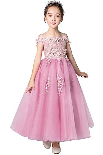 (MisShow 3D Flower Lace Applique Off Shoulder Girls Flower Wedding Gowns Dusty Pink)