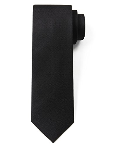 Origin Ties 100% Silk Textured Solid Color Men's Skinny Tie 3'' Necktie Black (Solid Silk Black Necktie)