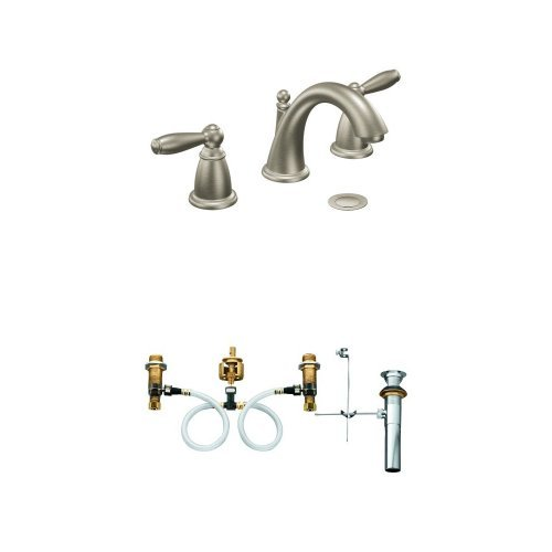 Moen T6620BN-9000 Brantford Two-Handle Low Arc Bathroom Faucet with Valve, Brushed Nickel