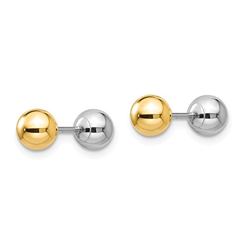 14k Two Tone Yellow Gold Reversible 5mm Ball Screw Earrings Button Fine Jewelry Gifts For Women For Her by ICE CARATS (Image #4)