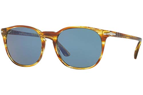 Persol PO3007S Sunglasses - 105056 Striped Brown Yellow (Blue Lens) - ()
