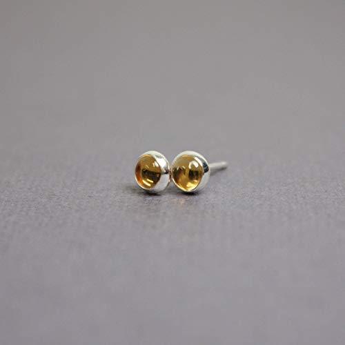 Honey 4mm - Citrine Stud Earrings, 4mm Sterling Silver