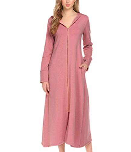 6d08acb0053f59 Pink Longue Casual Rose Rose Winter Femmes Elegant Taille L Robe ...