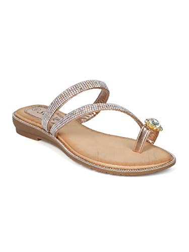 Alrisco Women Rhinestone Strappy Toe Ring Slip On Sandal - IA56 by SBUP Collection - Champagne Metallic (Size: 7.0)