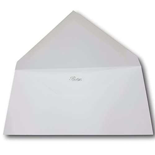 lot de 100 - Enveloppe Prestige luxe pour carte de vœux, noël, invitation et mariage - Patte Pointue gommée 110 x 220 mm DL Format carte correspondance papier extra blanc 135g ref UGEVPRP176