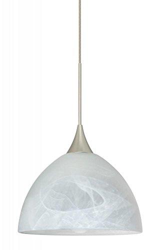 Besa Lighting 1XC-467952-LED-SN 1X6W Led Lightsource Brella Pendant with Marble Glass, Satin Nickel Finish
