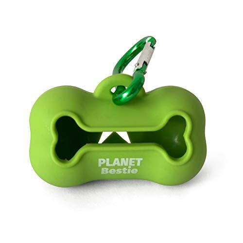 Planet Bestie Biodegradable Dog Poop Bag Holder, Eco-Friendly Silicone Dog Waste Bag Dispenser with Carabiner Dog Leash…