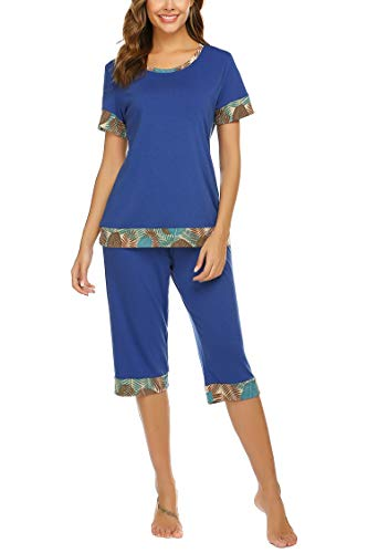 Hotouch Womens Summer Sleepwear Tops with Capri Pants Printed Pajama Sets