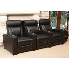 Black Leather Abbyson - Romano set of 3 Top Grain Leather Power Media Recliners - Black