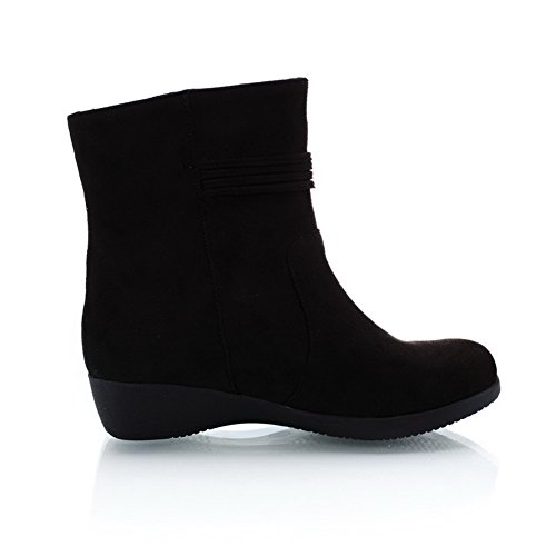 Low Womens Boots Frosted Black 7 with Wedge PU B M Imitated AmoonyFashion US Closed Heels Suede Solid Round Toe dIfqPwB