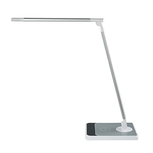 TOMSIN LED Desk Lamp with Wireless Charging, Office Desk Lamp Silver Touch Control & Memory Function & 3 Lighting Modes with 6 Brightness Levels, 5V/1A USB Charging Port, Hand Sweep Sensor