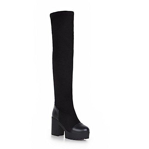 Odomolor Damen Ziehen auf Hoher Absatz Blend-Materialien Rein Hoch-Spitze Stiefel, Schwarz, 38
