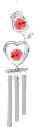 (Chrome Plated Wind Chime Sun Catcher or Ornament..... Rose Heart With Red Swarovski Austrian Crystal)