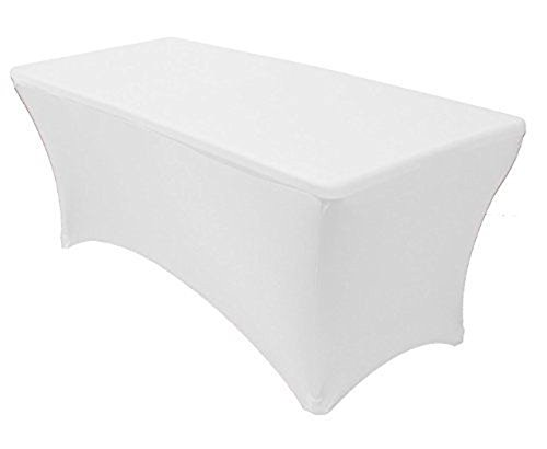 Tina 4 ft. Rectangular Banquet Table Cover Spandex Fitted Stretch Tablecloth White