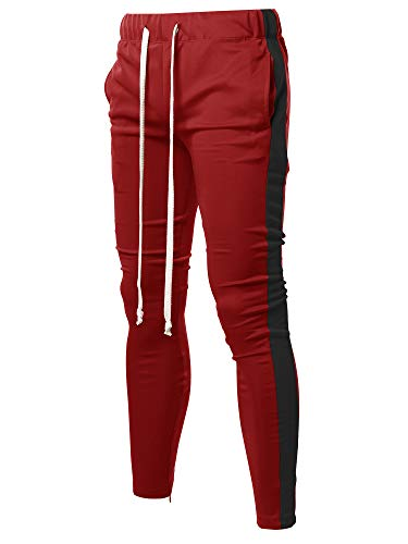 38b1d9accbaa Style by William Casual Side Panel Long Length Drawstring Ankle Zipper  Track Pants Red Black XL