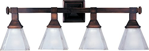 Maxim 11079FTOI Brentwood 4-Light Bath Vanity, Oil Rubbed Bronze Finish, Frosted Glass, MB Incandescent Incandescent Bulb , 15W Max., Damp Safety Rating, 3000K Color Temp, Opal Acrylic Shade Material, 950 Rated Lumens