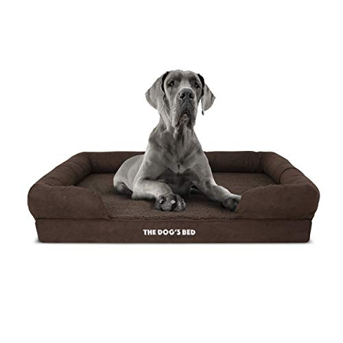 The Dogs Bed Orthopedic Dog Bed XL Brown Plush 43.5x34, Premium Memory Foam, Pain Relief: Arthritis, Hip & Elbow Dysplasia, Post Surgery, Lameness, Supportive, Calming, Waterproof Washable Cover