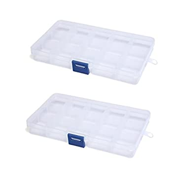Storage Box - TOOGOO(R) 2pcs Storage Box 15 Compartments for Jewelry Pill