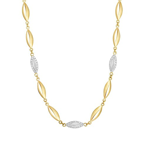14k Yellow Gold 5.5mm 0.21ct. Diamond Marquis Element Fancy Necklace With Lobster Clasp - 17 ()