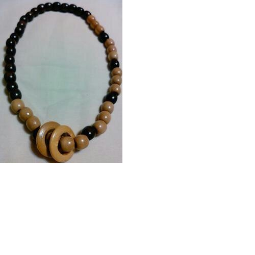 Two Rings Wood Necklace