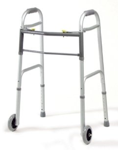 GF Health 616370A-4 Dual-Release Folding Walker with 5'' Fixed Wheels, Junior, Aluminum Color (Pack of 4)