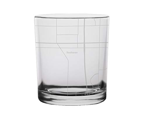 Southaven City Map Whiskey Glass Mississippi