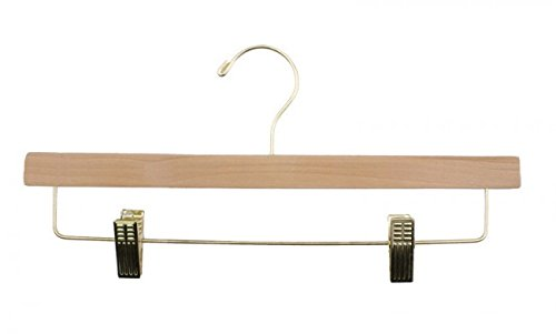 NAHANCO 6214RCGH Wooden Skirt/Slack Hangers with Chrome Hardware, Ladies Flat, 14'' Natural (Pack of 100)