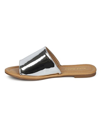 Sandalo Donna Alrisco Sandalo - Peep Toe Flat Open - Slide Open Toe - Hc16 By Mark Maddux Collezione Argento Metallizzato