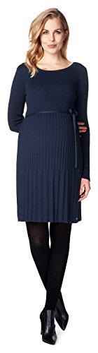 ESPRIT Maternity Damen Umstandskleid Feinstrick in schöner plissierter Optik / Farbe: Night Blue (486) K84275