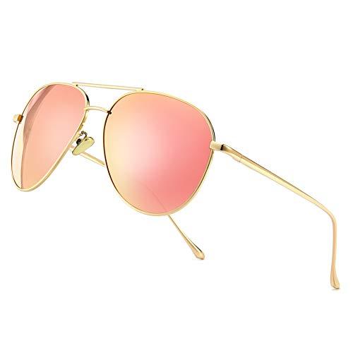 Lightweight Pink Mirror Lens Aviator Sunglasses for Women