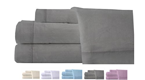 - Homefair Linen Bedsheet 400 Thread Count 100% Cotton Queen Sheet Set, 4 Piece Bedding Set, Elastic 16 inch Deep Pocket, Edge Hemstitch, Grey