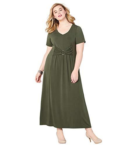 Avenue Women's Gathered Waist Maxi Dress, 18/20 Green ()