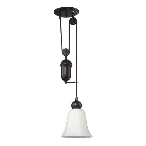 Elk Lighting Floor Lamp - Elk 65090-1 8-Inch Farmhouse 1-Light Pendant, Oiled Bronze With White Glass