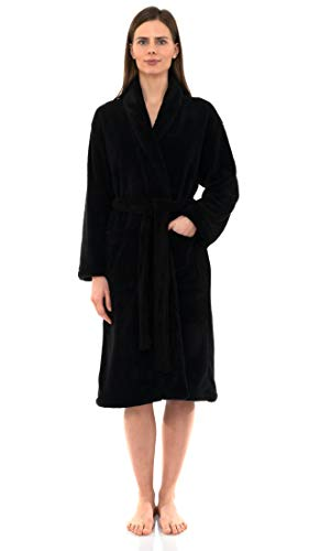 TowelSelections Women's Super Soft Plush Bathrobe Fleece Spa Robe Medium/Large Anthracite