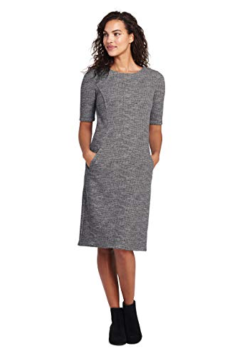 (Lands' End Women's Ponte Knit Sheath Print Dress with Elbow Sleeves, 8, Charcoal Heather)