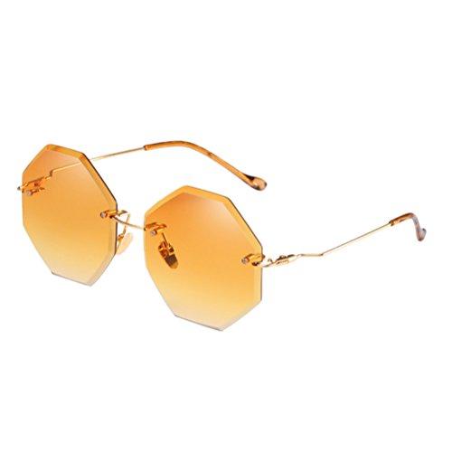 Dames Femmes De Bord Des Sunglasses Marine Yellow Zhhlaixing Couleur coupe Dégradé Mode Lunettes Frameless Soleil AwFxwP8vqU