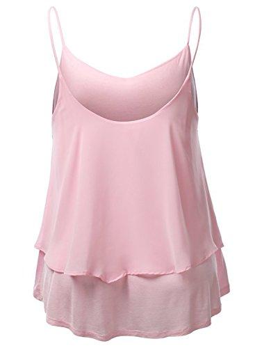 Azbro Mujer Camisola Tank de Gasa Doble Capa Color Sólido Correas Finas Rosa