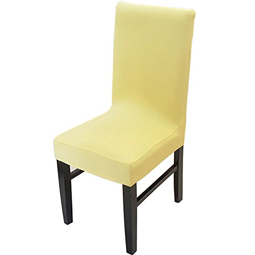 Knit Spandex Fabric Stretch Dining Room Chair Slipcovers Set of 4 Yellow