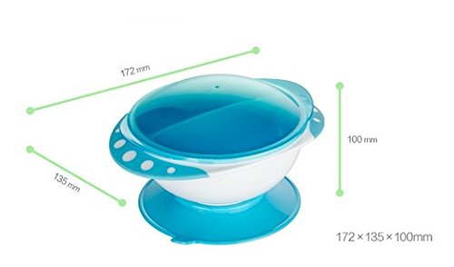 SKK Baby Divided Suction Bowl With Lids Stay Put and Non Spill For Infant Toddler Kids Blue