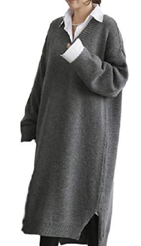 ジョットディボンドン無意識寛大さ【ラララ】 ワンピース セーター ニット ロング 体型カバー ゆったり Vネック 長袖 レディース
