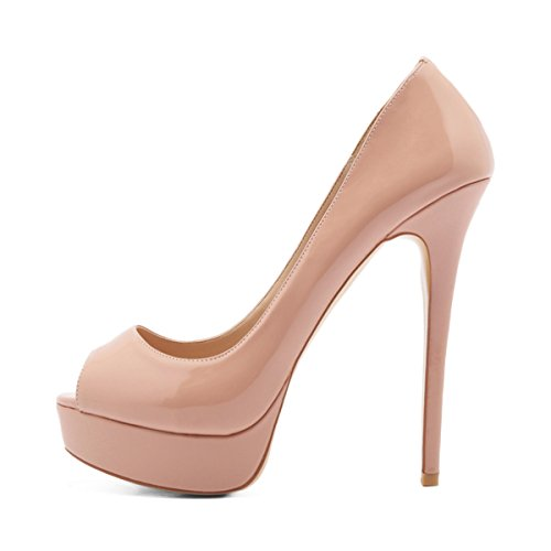 onlymaker Women's Sexy High Heels Peep Toe Slip On Platform Pumps Stiletto Dress Party Wedding Shoes Nude US7