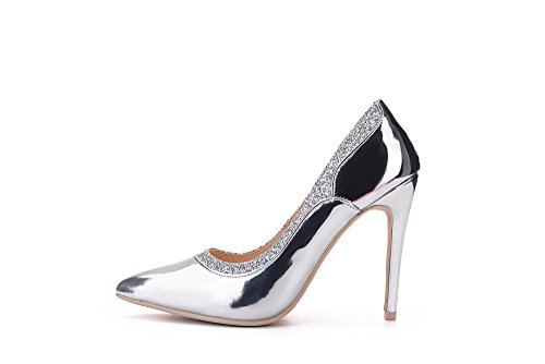 Heeled Shoes Mila Lady Embellished Toe Platform Sparkles Celeste Point Silver Lady wTBxwU8qS