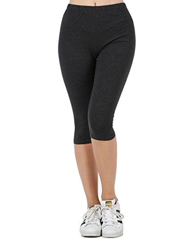 KOGMO Womens Premium Cotton Comfortable Stretch Capri Leggings 15in Inseam-L-CHARCOAL