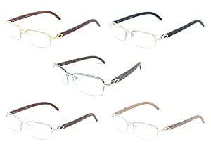 Debonair Slim Half Rim Rectangular Metal & Wood Eyeglasses / Clear Lens Sunglasses - Frames