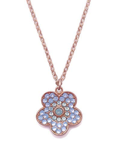 (Catherine Popesco Pacific & Air Blue Opalescent Swarovski Crystal Goldtone Flower Pendant Necklace)