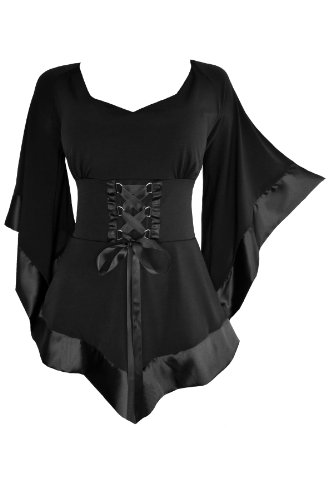 Dare to Wear Victorian Gothic Boho Women's Plus Size Treasure Corset Top in Black 2X
