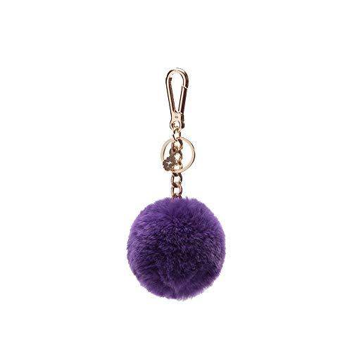 Pom Pom Keychains for Women by Miss Fong,Cute Keychain,Puff Ball Key Chain Women,Bag charms for Handbags Fur Ball in Fox Fur (Purple) ()