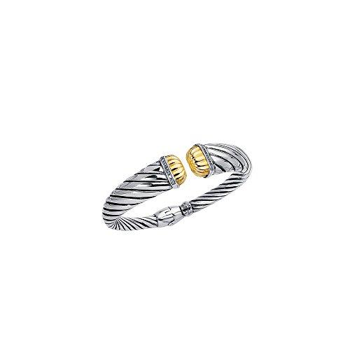 Argent Sterling 7,5 pouces Bracelet 18 carats avec diamants bruts-JewelryWeb